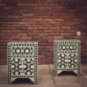 Celestial Green and white bone inlay sidetable   lucky-furniture-handicrafts.