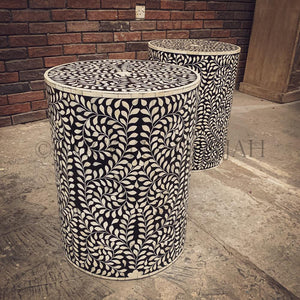 Black and white floral round bone inlay sidetable   lucky-furniture-handicrafts.