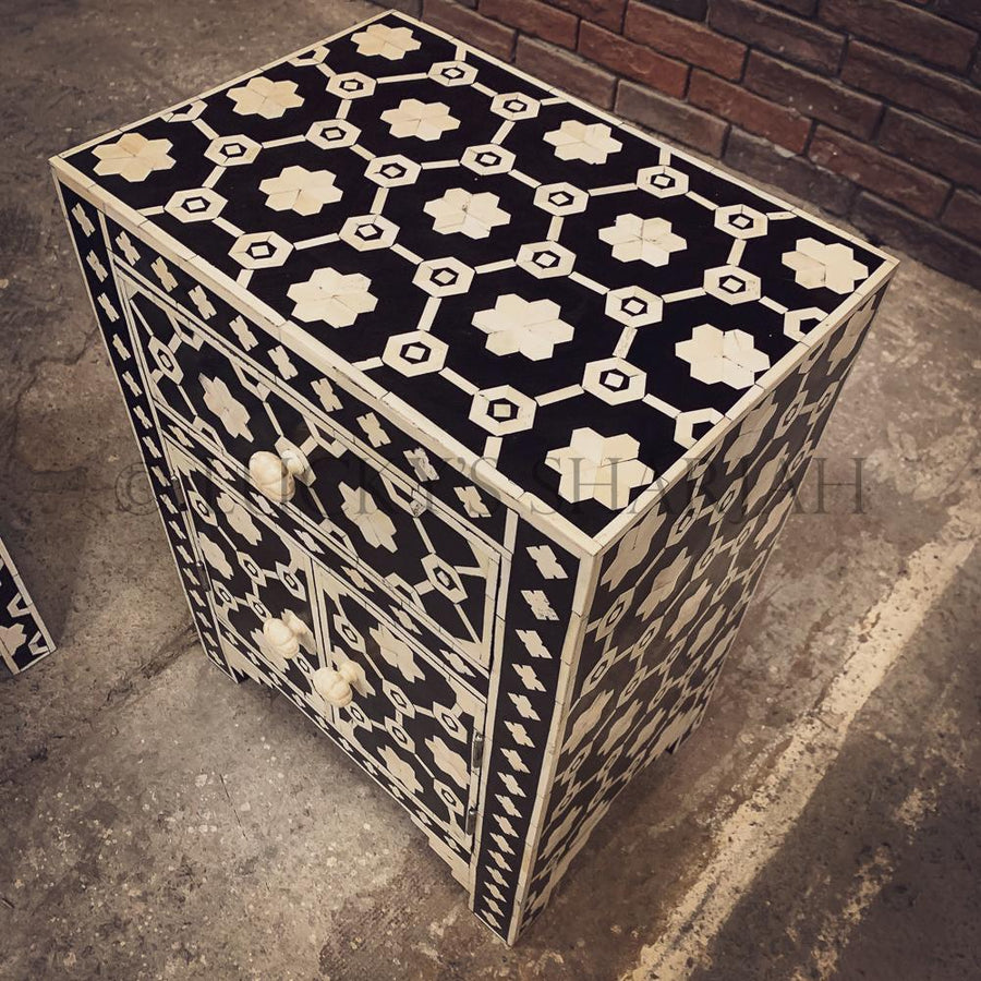 Celestial Black and white bone inlay sidetable   lucky-furniture-handicrafts.