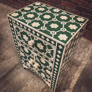 Celestial Green and white bone inlay sidetable   lucky-furniture-handicrafts