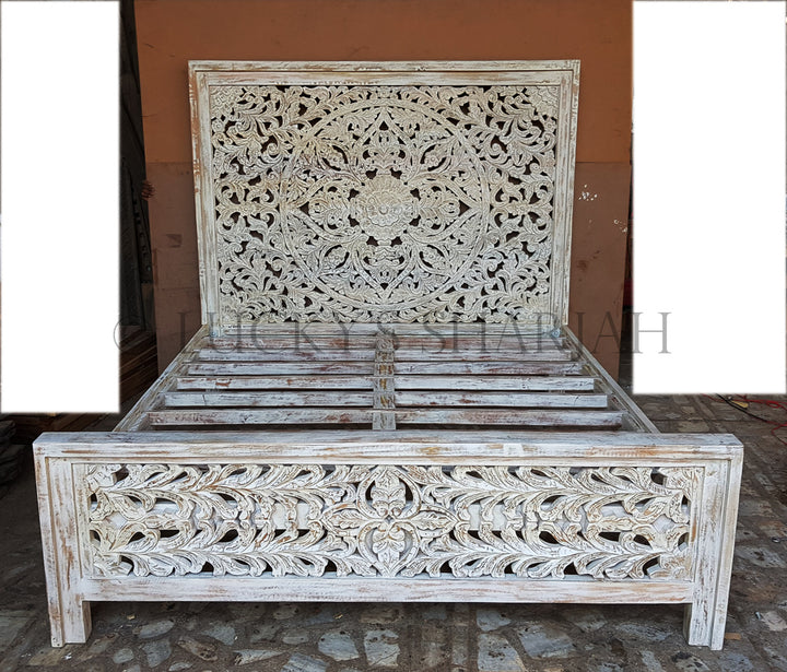Heavy Carved bed WHITE   lucky-furniture-handicrafts