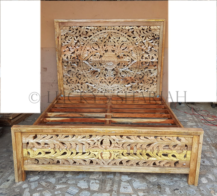 Heavy Carved Bed NATURAL   lucky-furniture-handicrafts
