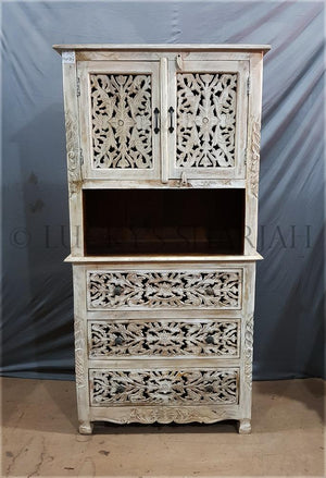 Carved Cabinet with 3 draw   lucky-furniture-handicrafts.