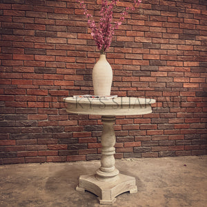Round Pedestal Table WHITE   lucky-furniture-handicrafts.