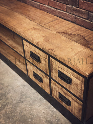 Industrial  8 Draw Tv Stand   lucky-furniture-handicrafts.