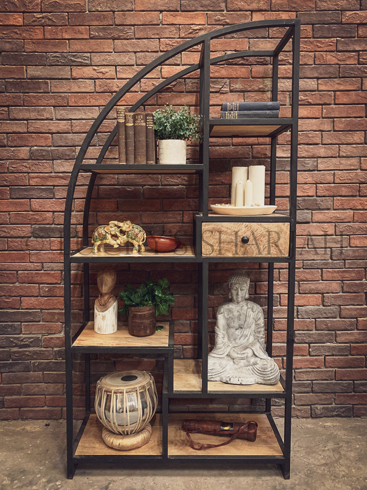 Industrial half arch bookshelf with 1 draw   lucky-furniture-handicrafts.