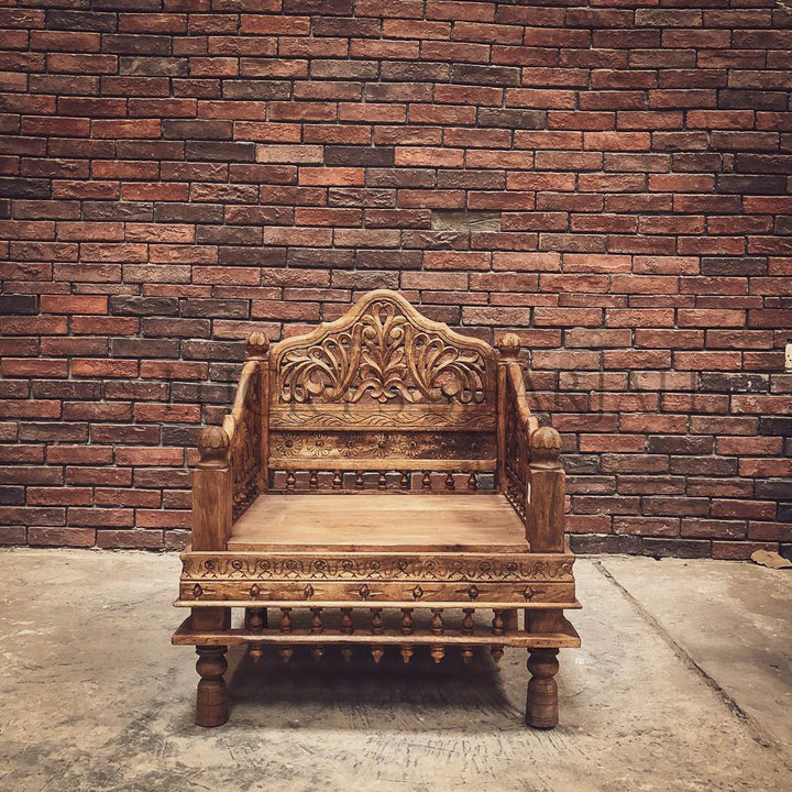 Carved Single seater bench   lucky-furniture-handicrafts