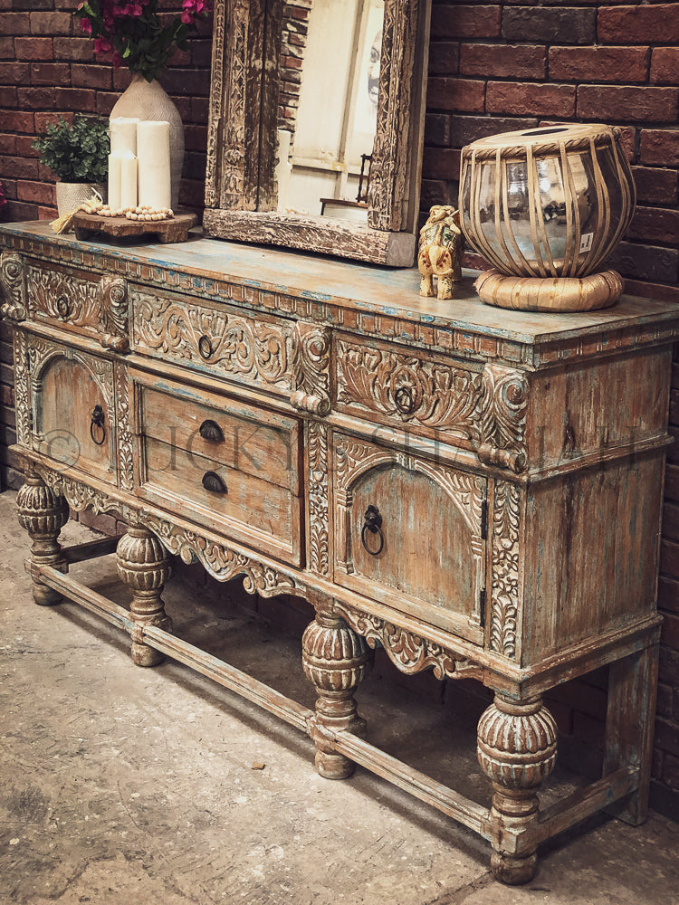 Grand Carved Rustic Chic Console   lucky-furniture-handicrafts.