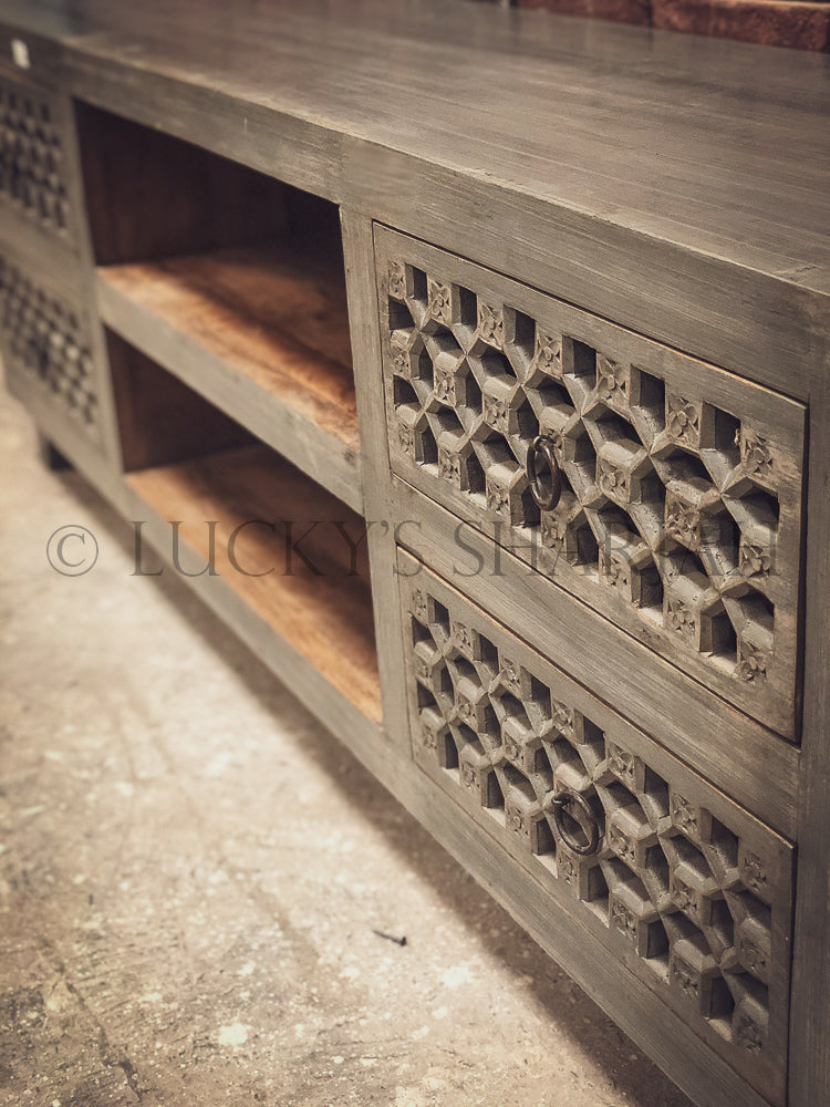 Grey Carved 4 draw TV stand   lucky-furniture-handicrafts