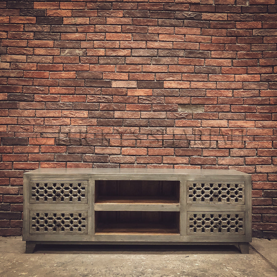Grey Carved 4 draw TV stand   lucky-furniture-handicrafts.