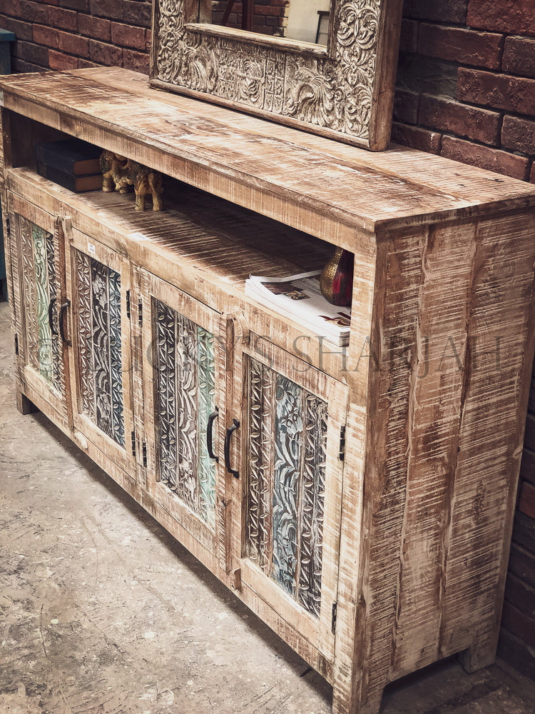 Recycle Design White Glazed Sideboard   lucky-furniture-handicrafts.