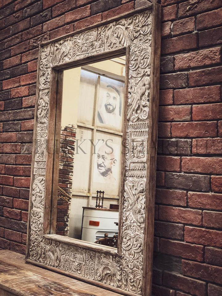 Carved Boho Mirror frame   lucky-furniture-handicrafts