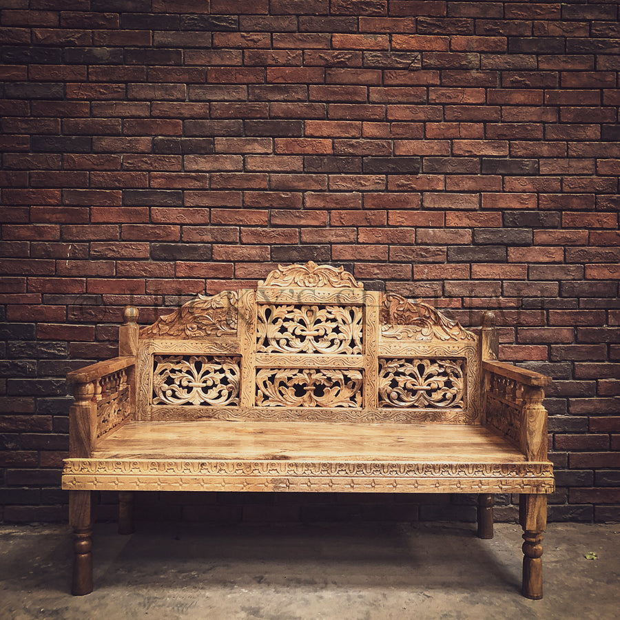Heavy Carved Mango wood high back bench   lucky-furniture-handicrafts.