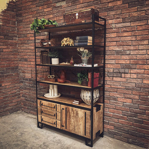 Industrial Bookshelf with 3 draw and cabinet   lucky-furniture-handicrafts.
