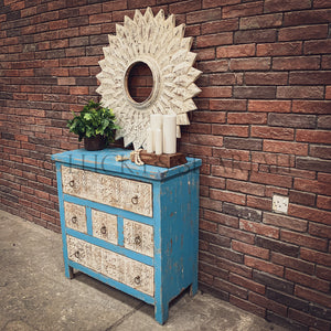 White & Blue Carved drawchest   lucky-furniture-handicrafts