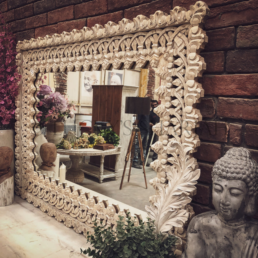 Intricate carved mirror frame   lucky-furniture-handicrafts