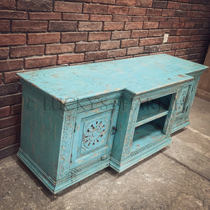 Sky blue carved tv stand   lucky-furniture-handicrafts.