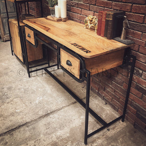 Industrial Minimalist Desk with 2 draw   lucky-furniture-handicrafts.