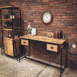 Industrial Minimalist Desk with 2 draw   lucky-furniture-handicrafts