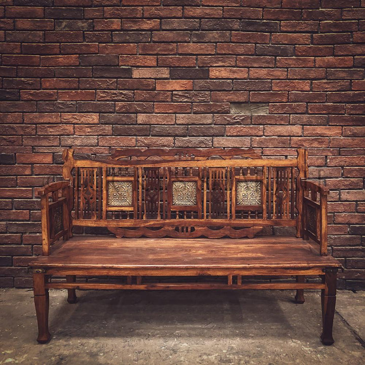 Brass inlay classic rosewood bench   lucky-furniture-handicrafts.