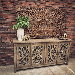 Leaf Pattern Sideboard Grey   lucky-furniture-handicrafts.