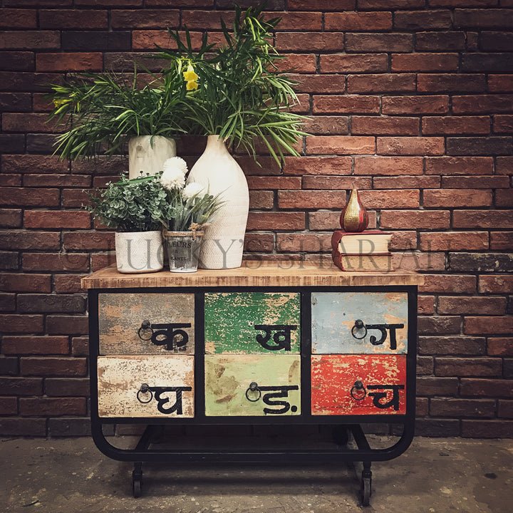 Multicolor low console industrial with wheel   lucky-furniture-handicrafts