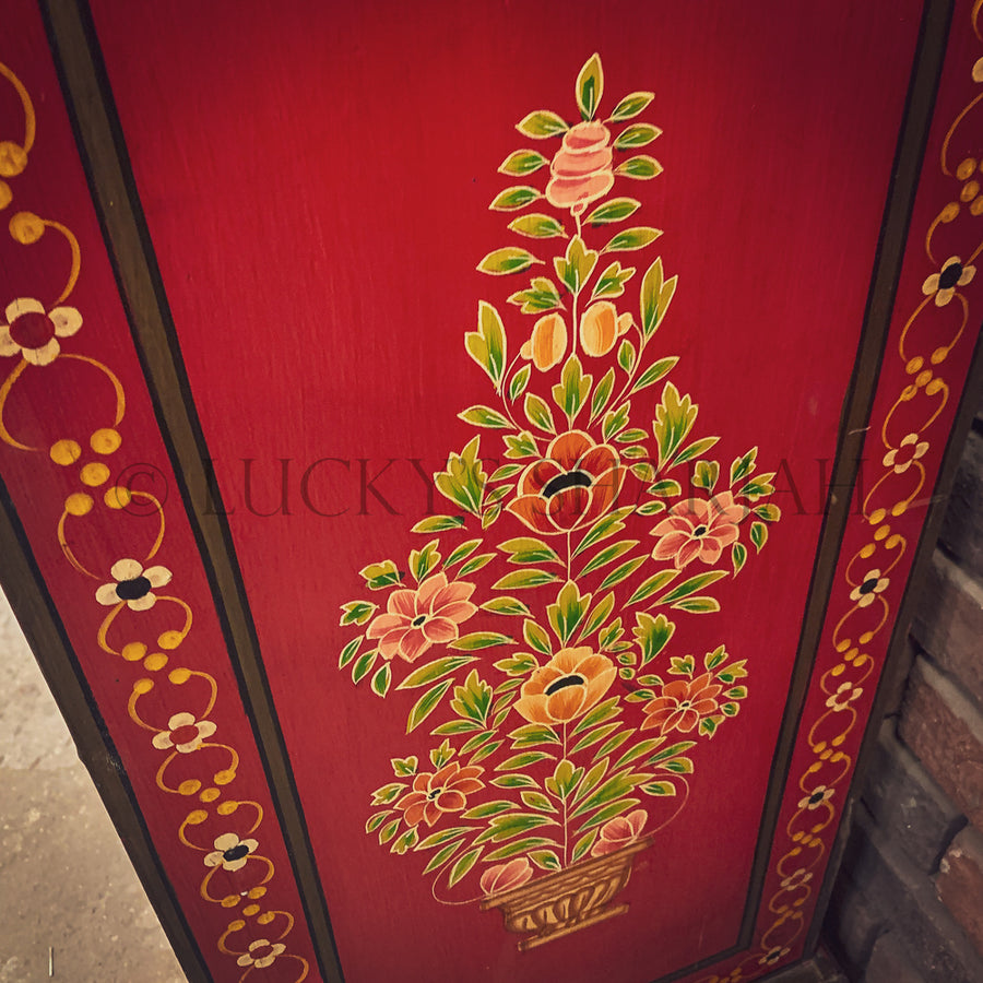 Handpainted Red floral indian design sideboard   lucky-furniture-handicrafts.