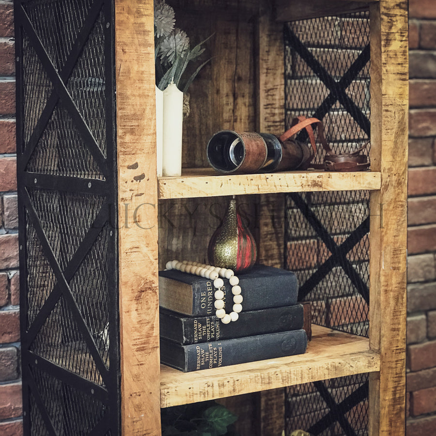 Narrow Barn Style bookshelf with fenced door style   lucky-furniture-handicrafts.