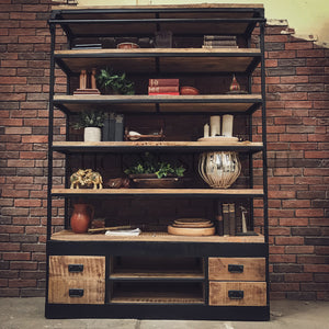 Industrial library bookshelf with 4 drawer   lucky-furniture-handicrafts.