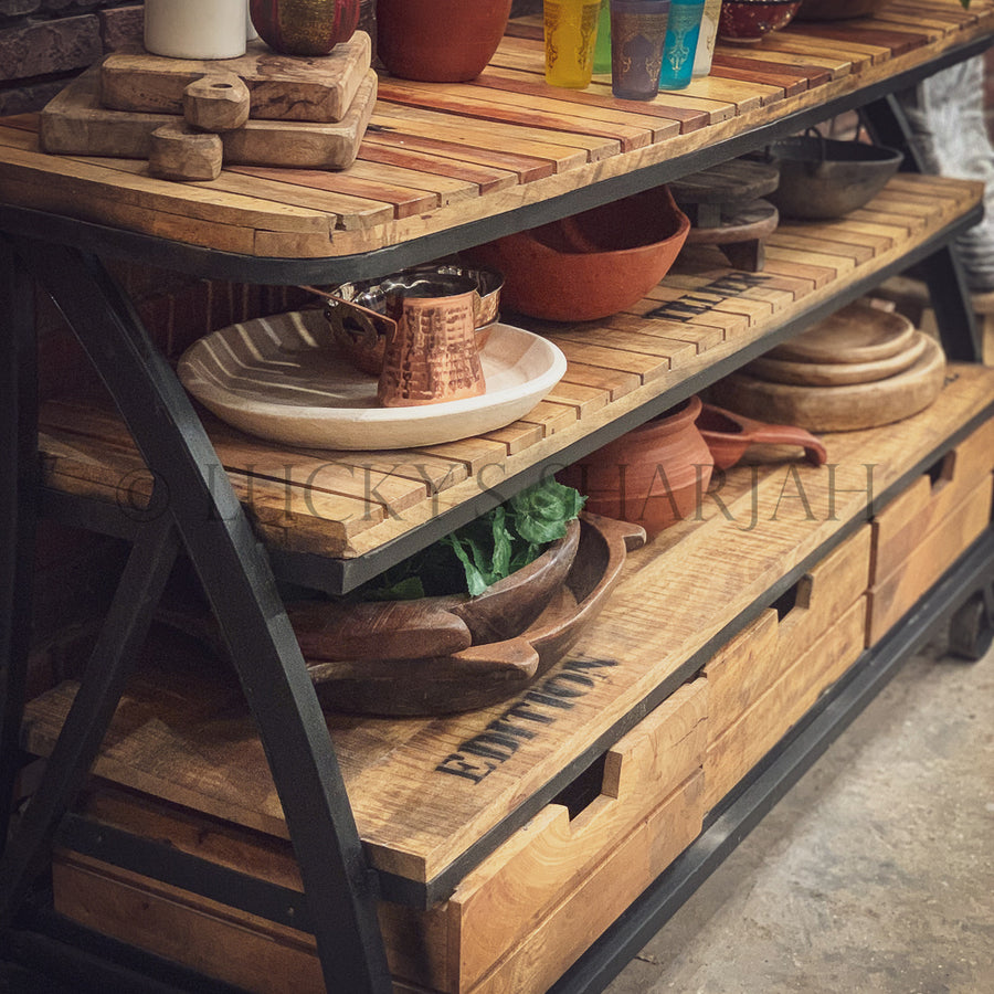 Industrial Trolley Console   lucky-furniture-handicrafts.