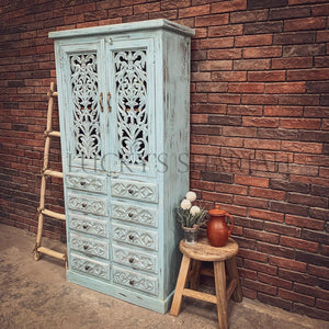 Carved sky blue cabinet with drawers   lucky-furniture-handicrafts.