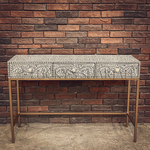Grey Floral bone inaly console with 3 draw   lucky-furniture-handicrafts.