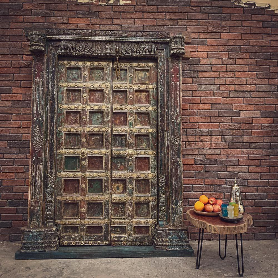 Carved Antique Multicolor door   lucky-furniture-handicrafts.
