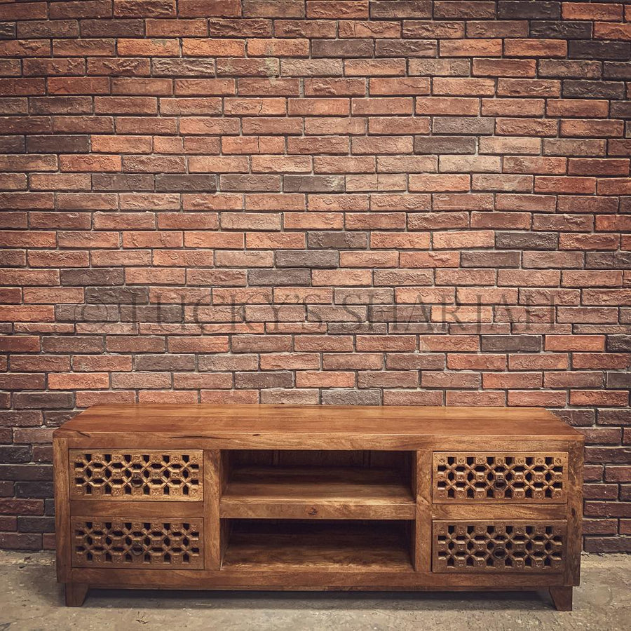 Carved 4 draw tv stand   lucky-furniture-handicrafts.