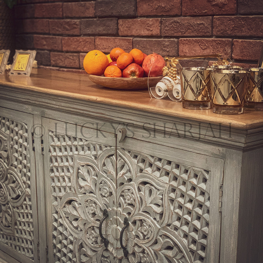 Heavy carved sideboard grey 2 tone   lucky-furniture-handicrafts.