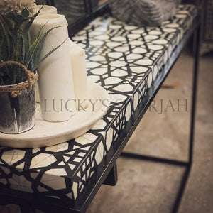Celestial black and white bone inlay console table   lucky-furniture-handicrafts