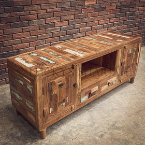 Recycle design side rounded tv stand with 2 door 2 draw   lucky-furniture-handicrafts.