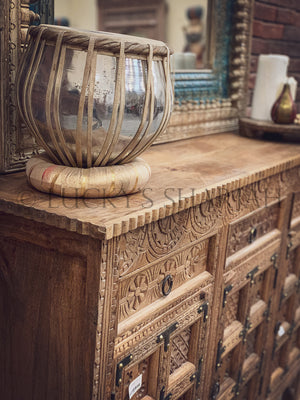 Mixed Carved sideboard with iron details   lucky-furniture-handicrafts
