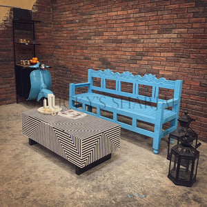 Bright Blue carevd bench   lucky-furniture-handicrafts