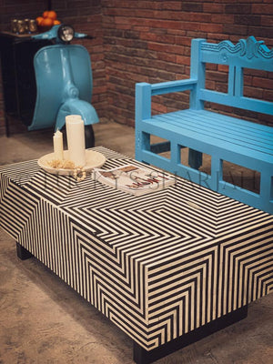 Bright Blue carevd bench   lucky-furniture-handicrafts.