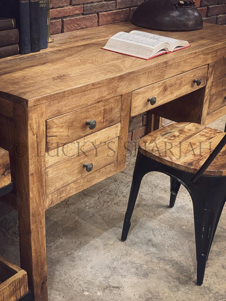 Barn Style Rough Mango wood desk   lucky-furniture-handicrafts.