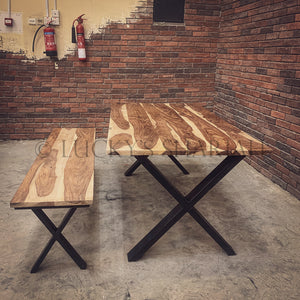 Rosewood Dining Table X Legs   lucky-furniture-handicrafts.