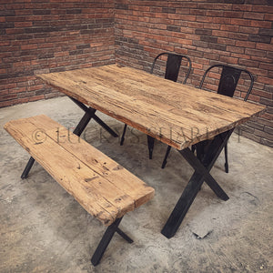 Railway Sleeper Dining Table X Legs   lucky-furniture-handicrafts