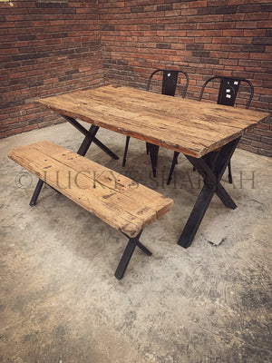 Railway Sleeper Dining Table X Legs   lucky-furniture-handicrafts.