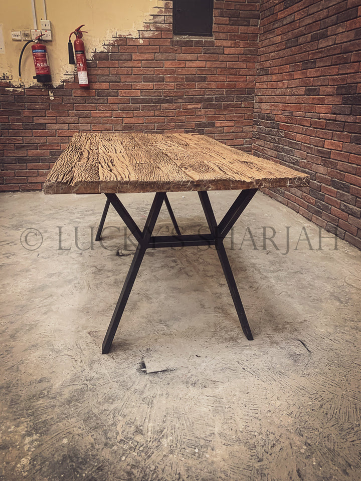 Railway Sleeper dining table Y Legs   lucky-furniture-handicrafts
