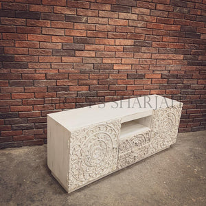 Carved Whitewash Tv stand   lucky-furniture-handicrafts.