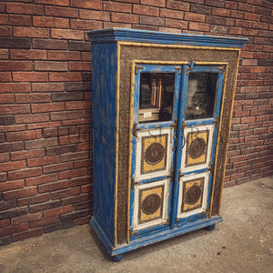 Distress blue glass cabinet with brass inlay   lucky-furniture-handicrafts.