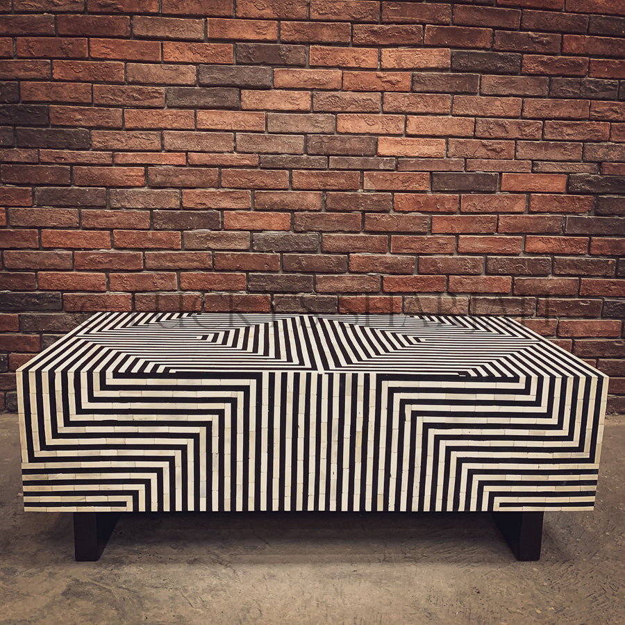 Geometric Black and white bone inlay coffee table   lucky-furniture-handicrafts.