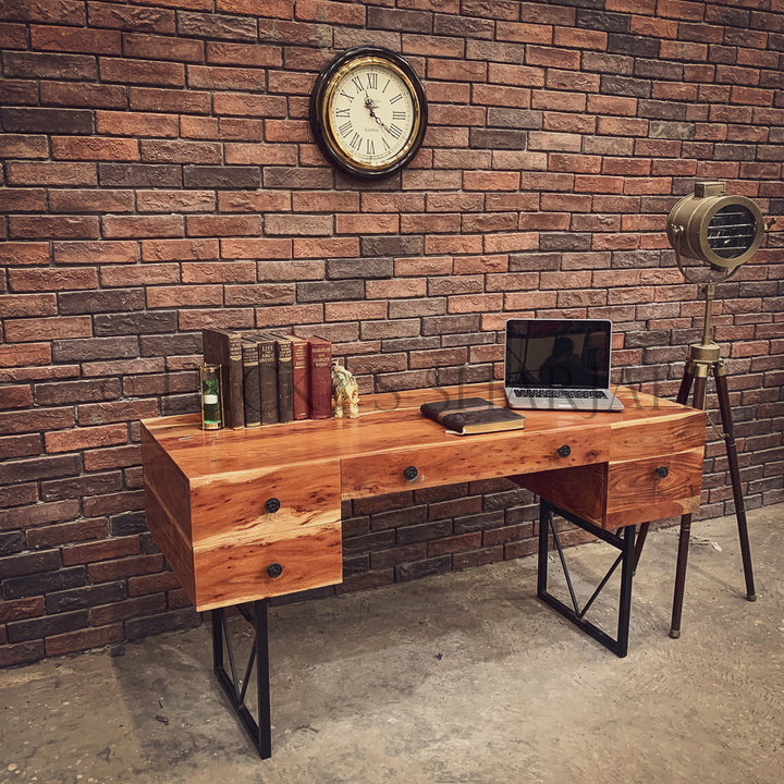 Executive Industrial Acacia wood Desk   lucky-furniture-handicrafts.