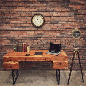 Executive Industrial Acacia wood Desk   lucky-furniture-handicrafts